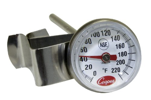 Cooper-Atkins 1236-70-1 Bi-Metals Espresso Milk Frothing Thermometer with Clip, 1
