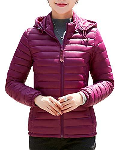 Manteau Avec Quge Court Slim Duvet Woman Capuche Manteau Parka Matelassé Violet Piumini Élégant Veste En Vestes qB8BOw