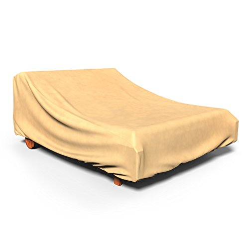 Budge All-Seasons Double Patio Chaise Lounge Cover, (Tan) (Chaise Furniture Double Outdoor)