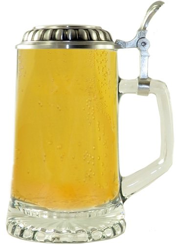 0.4 Liter Glass Beer Stein with Pewter Lid ()