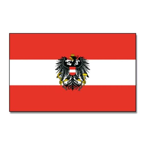 White 150/x 90/x 1/cm Flaggenking 16958 Austria Flag with Crest