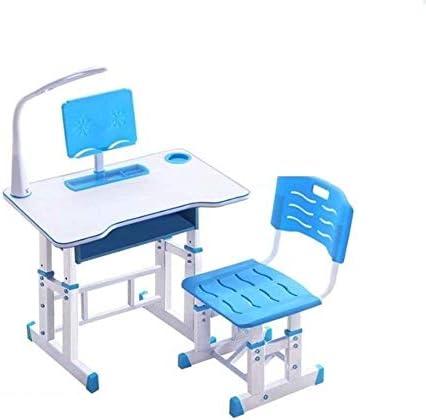 ライト付きキッズデスクチェアセット、プルアウト引き出し付きの子供用学習デスクとチェアセット、高さ調節可能な人間工学に基づいた学生デスク、勉強する男の子と女の子へのギフト(Color:青い)