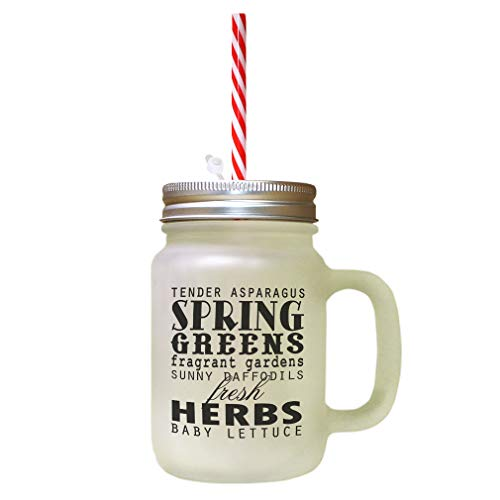 - Black Tender Asparagus Spring Greens Fragrant Gardens Frosted Glass Mason Jar With Straw
