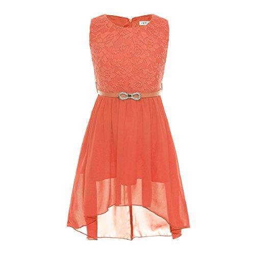 iEFiEL Big Girls Floral Lace Sleeveless Hi-Low Chiffon Wedding Dress with Belt Orange 12