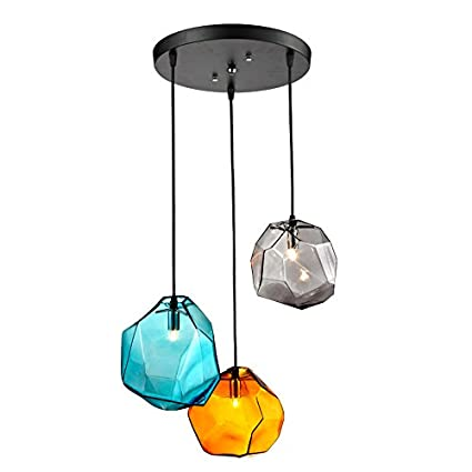 Lovedima stone 3 light colored glass pendant light ceiling lighting lovedima stone 3 light colored glass pendant light ceiling lighting fixture round aloadofball Images