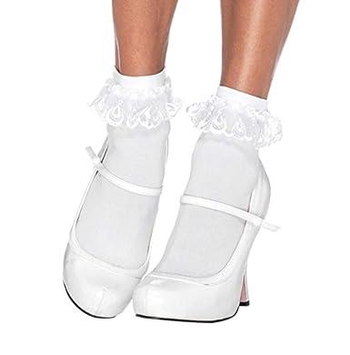 Leg Avenue Women's Lace Ruffle Anklet Socks Black One Size 301322001 LA-3013-BK-OS