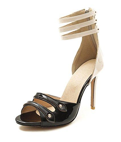 Reißverschluss Out Damen mit Schwarz Sandale Knöchelriemchen Aisun Stiletto Cut Zehen Offene zdvqw8wIF