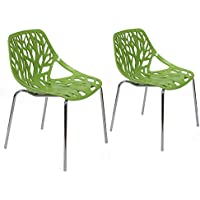 Joveco Green Cut-out Tree Design Dining Chairs with Chromed Legs (set of two)