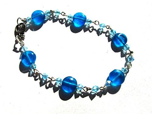 Blue stone button disks glass crystals handmade silver plated link bracelet Metal Disk Link