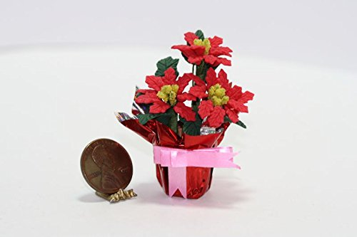 Bright Delights Dollhouse Miniature Potted Poinsettia Wrapped in Foil w/Pink Ribbon
