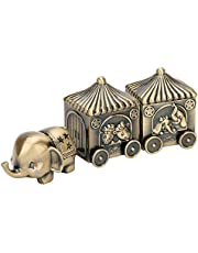Vintage Tooth Fairy Box, Metal Elephant Carriage First Tooth and Curl Baby Keepsake Box Ornaments Teeth Holder Containter for Kids