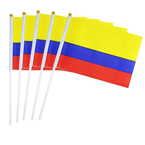 Kind Girl Hand Held Colombia Flag Colombian Flag Stick Flag Mini Flag 50 Pack Round Top National Country Flags, Party Decorations Supplies for Parades,World Cup,Sports Events,International Festival for $<!--$11.99-->
