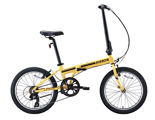 EuroMini ZiZZO Campo 28lb Lightweight Aluminum Frame Shimano 7-Speed Folding Bike 20-Inch (Yellow 2019) (Best Commuter Bicycle 2019)