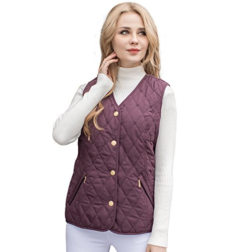 MSVASSA Womens Quilted Padded Gilet Ladies Body Warmer Plus Size Casual Classic Vest Jacket 12-28 Berry