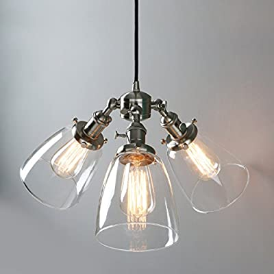 Phansthy Vintage Industrial Chandelier Light 3-Light Glass Edison Pendant Light with Three 5.7 Inch Clear Glass Bell Lampshade