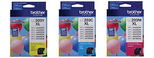 Brother LC-203C, LC-203M, LC-203Y Ink Cartridge Set of Cyan