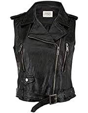 Glam and Gloria Women's Black Faux Leather Moto Biker Vest Sleeveless Jacket Short Coat
