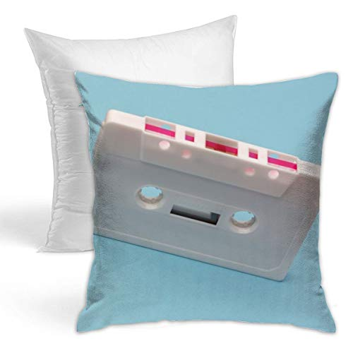 (Osvbs White Cassette Tape Customized Creative Home Double-Sided Printed Cushion Decorative Pillowcase with Pillow Invisible Zipper 16.5