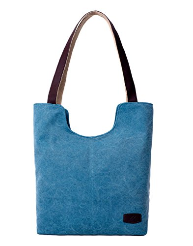 YUYO - Bolso al hombro de Lona para mujer azul claro
