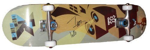 tom-schaar-autographed-signed-x-games-logo-skateboard-deck-with-truck-wheels-proof-photo-of-signing-