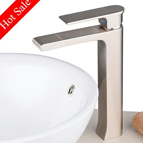Beelee bathroom tall vessel sink faucet brushed nickel,single hole,square