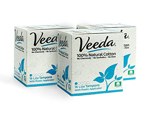 Veeda Natural All-Cotton Tampons, Lite/Light, Compact Applicator, 3 Boxes of 16 Count Each