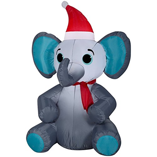 Christmas Inflatable Elephant With Santa Hat And Scarf By Gemmy (3)