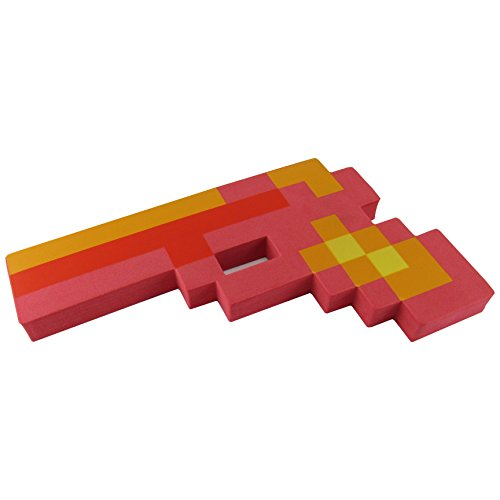 Minecraft Villager Costume (8 Bit Foam Gun Toy Weapon, Pixelated Fiery Red Pistol, 10 inch, EnderToys)