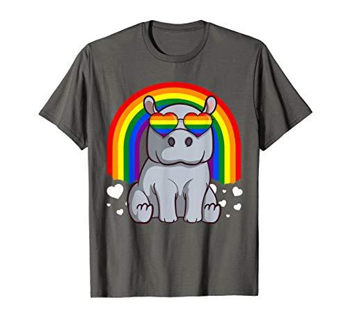 LGBT Hippopotamus Gay Pride Rainbow LGBTQ Cute Hippo T-Shirt