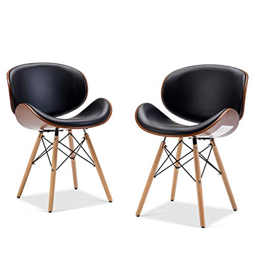 Upholstered Kitchen - Belleze Set (2) Mid-Century Upholstered Faux Leather Walnut Finished Curved Back Dining Kitchen Accent Chair, Black