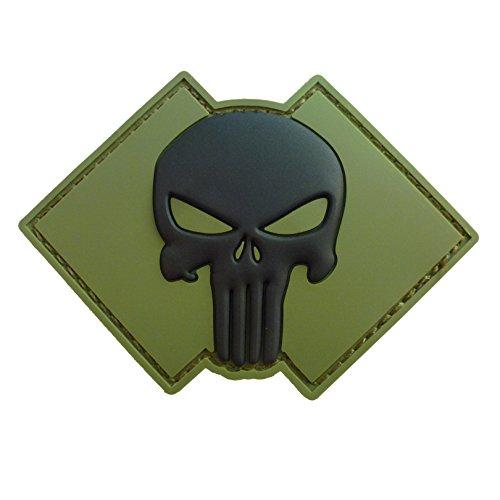 - LEGEEON Olive Drab Green OD Punisher Skull US Navy Seals DEVGRU PVC 3D Rubber Hook&Loop Patch