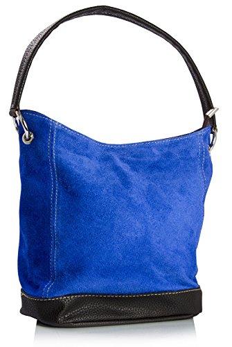 Cobalt Piel con Dama Imitación para Piel Gamuzada Bolso Mano en Blue en Auténtica Detalles italiana BHBS de nwTYBqZq