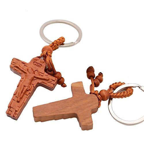 HUELE 8 PCS Wooden Cross Keychain -