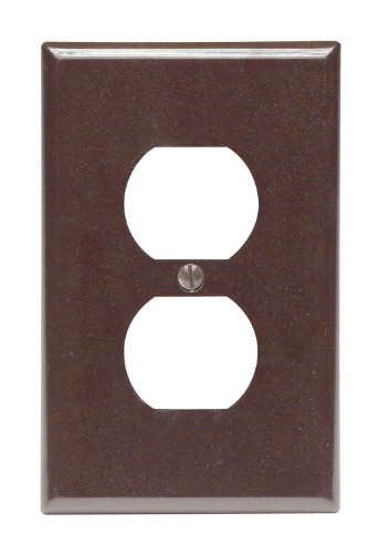 Leviton 80503 1-Gang Duplex Device Receptacle Wallplate, Midway Size, Thermoset, Device Mount, Brown