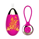 Waterproof 10 -Frequency Heating Silicone Love Egg for Women, Rose