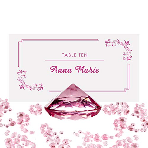(PINK Diamond Place Card Holder and Table Number Holders (20 Pieces) with Matching Diamond Table Confetti (Over 6,000 Scatter Diamonds) Party and Wedding Table Decorations Set )