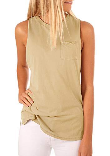 - Women's High Neck Tank Top Sleeveless Blouse Plain T Shirts Pocket Cami Summer Tops Khaki