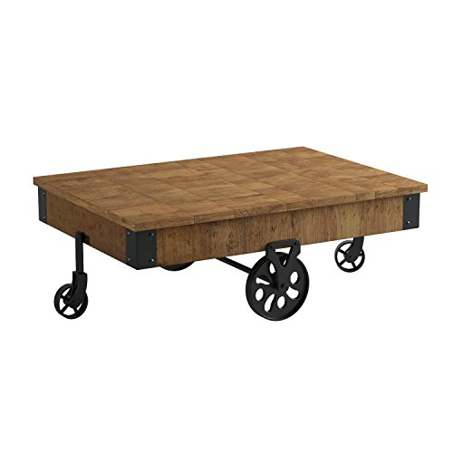 Rustic Brown Wood Coffee Table: Distressed Wagon Coffee Table Rustic Brown