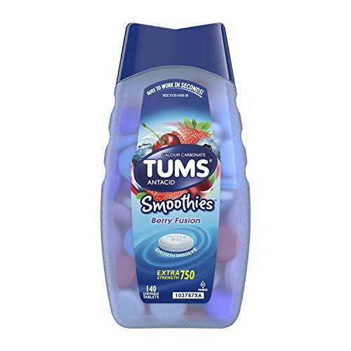 TUMS Smoothies Berry Fusion Extra Strength Antacid Chewable Tablets for Heartburn Relief, 140 count -