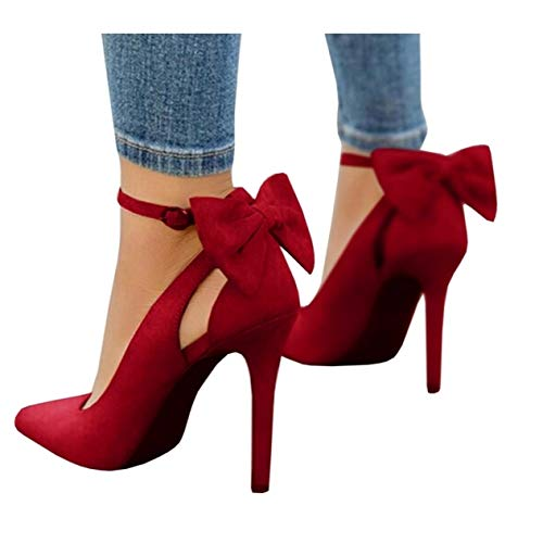 Fashare Womens Pointed Toe Pumps High Heels Bowtie Back Ankle Buckle Strap D'Orsay Dress Shoes Red ()