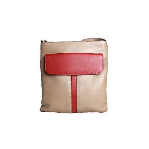 Eastern Counties Leather Bolso con bolsillo en la parte frontal modelo Melissa para mujer Gris Topo/Rojo