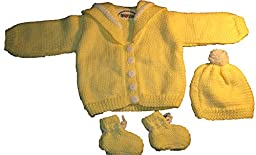 Sweater Set - Sweater, Cap, Booties Set Size 0-6 Months (Yellow Sweater)