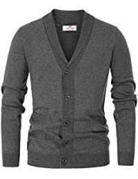 Men's Stylish V-Neck Button Down 2 Pockets Cardigan Sweater Ribbed Edge
