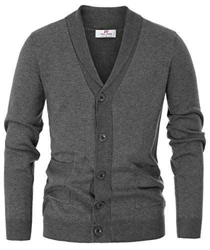 Men's Stylish Cable Knit Shawl Collar Button Down Cardigan Sweater(XL,Dark -