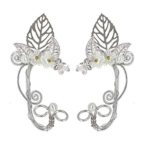 Elf Elven Ear Cuffs, OwMell Leaf Flower Filigree Fairy Elven Cosplay Fantasy Costume Handcraft Ear Wrap Cuff Earrings]()