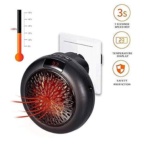 Instaheater Mini Estufa Eléctrica - Calefactor Cerámico de Aire Caliente de Ventilador - Calefactor Portátil Pared con Salida de Pared y Pantalla Digital ...