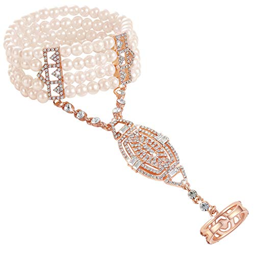 - Coucoland 1920s Flapper Bracelet Ring Set Roaring 20s The Great Gatsby Austrian Crystals Imitation Pearl Bracelet Accessory (Rose Gold)