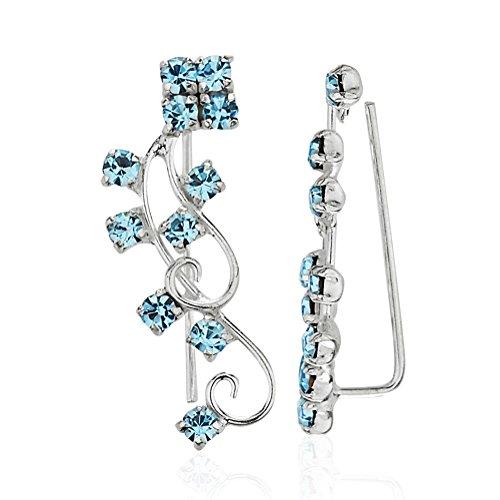 925 Sterling Silver Swirls & Blue Crystal Glass Stones No Pierce Ear Pin Earrings, Set of Two (2) (Silver Earrings Crystal Swirl Sterling)