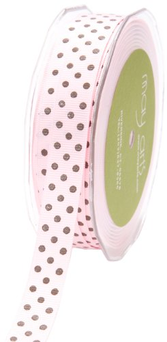 May Arts 5/8-Inch Wide Ribbon, Pink and Brown Grosgrain Polka Dot