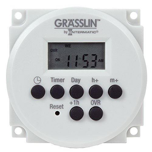 Grasslin by Intermatic FM1D14-AV-U Digital Timer, One-Circuit Panel Mount, 120-277VAC, 50/60Hz